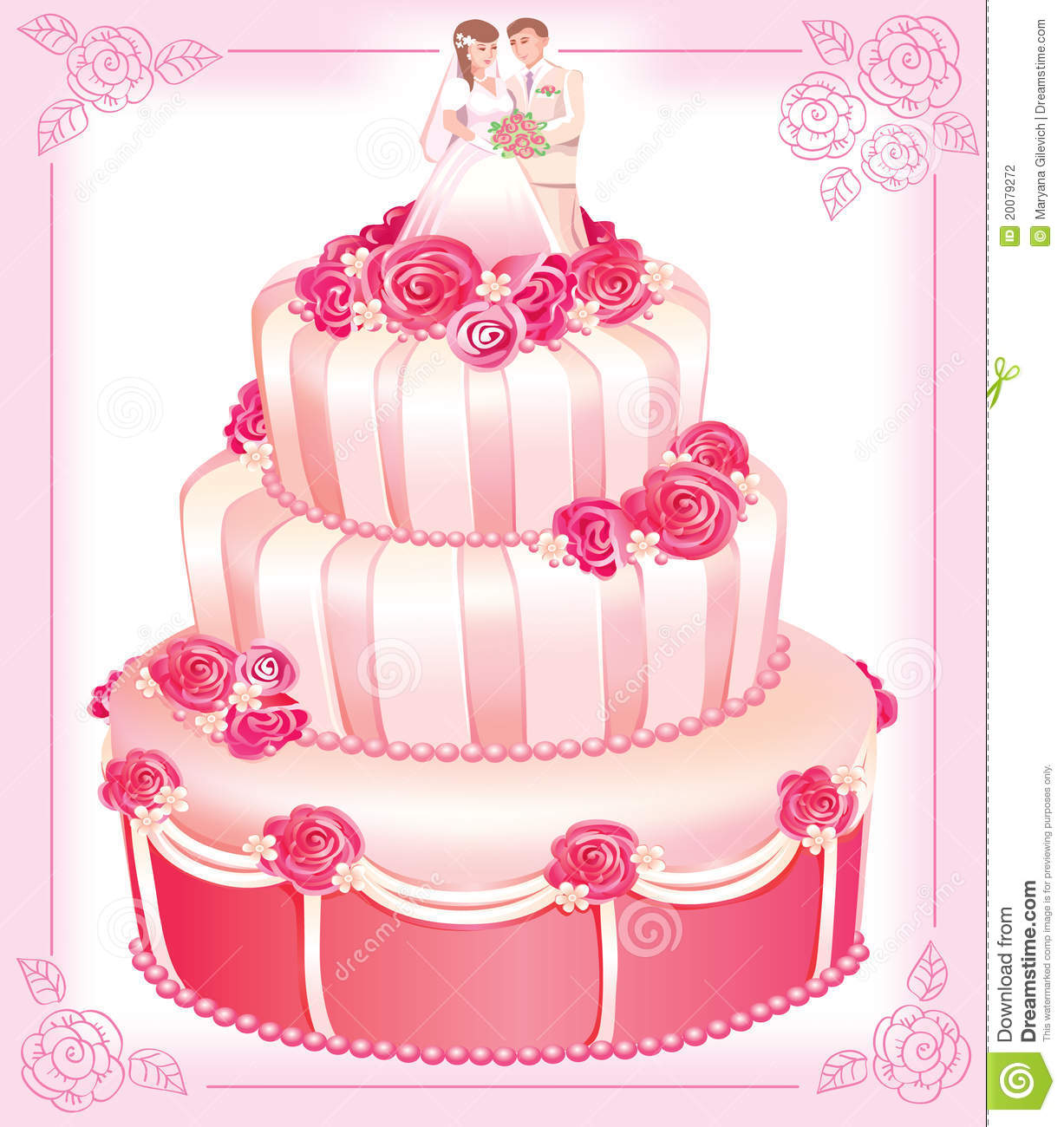 wedding cake vector vector wedding pink cake stock vector illustration of 26758