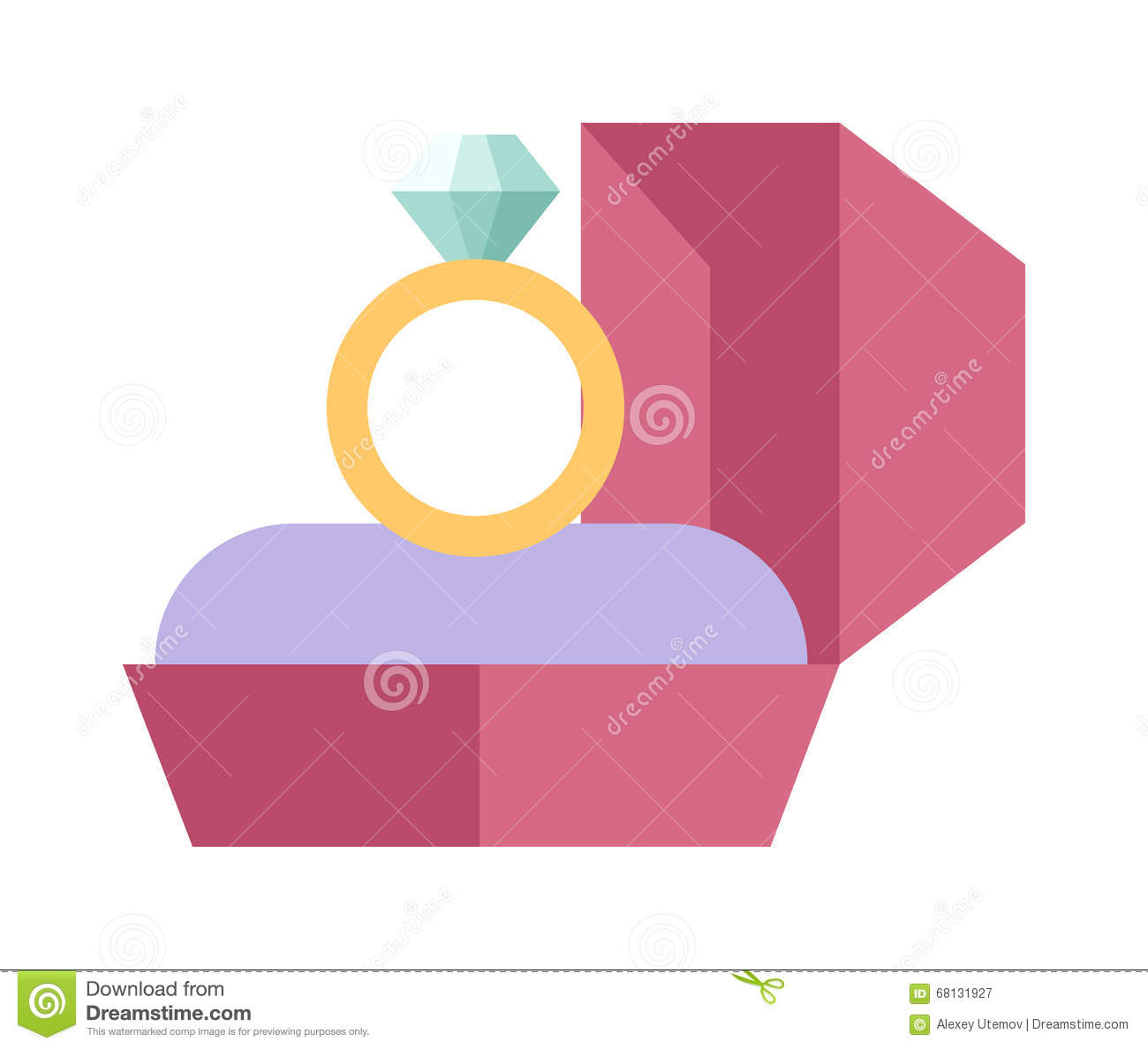 Vector Wedding Ring In A Beautiful Pink Box Flat Design. Stock ...