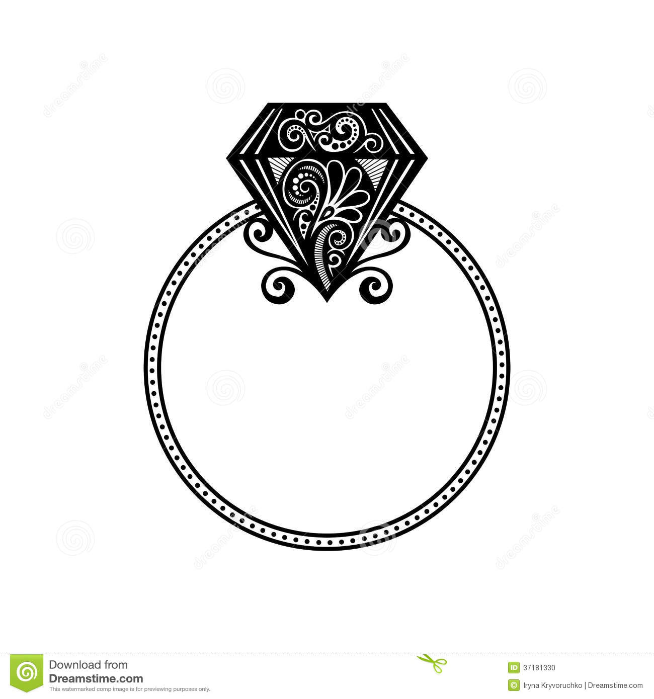 Vector Wedding Ring With Diamond Stock Vector Illustration of
