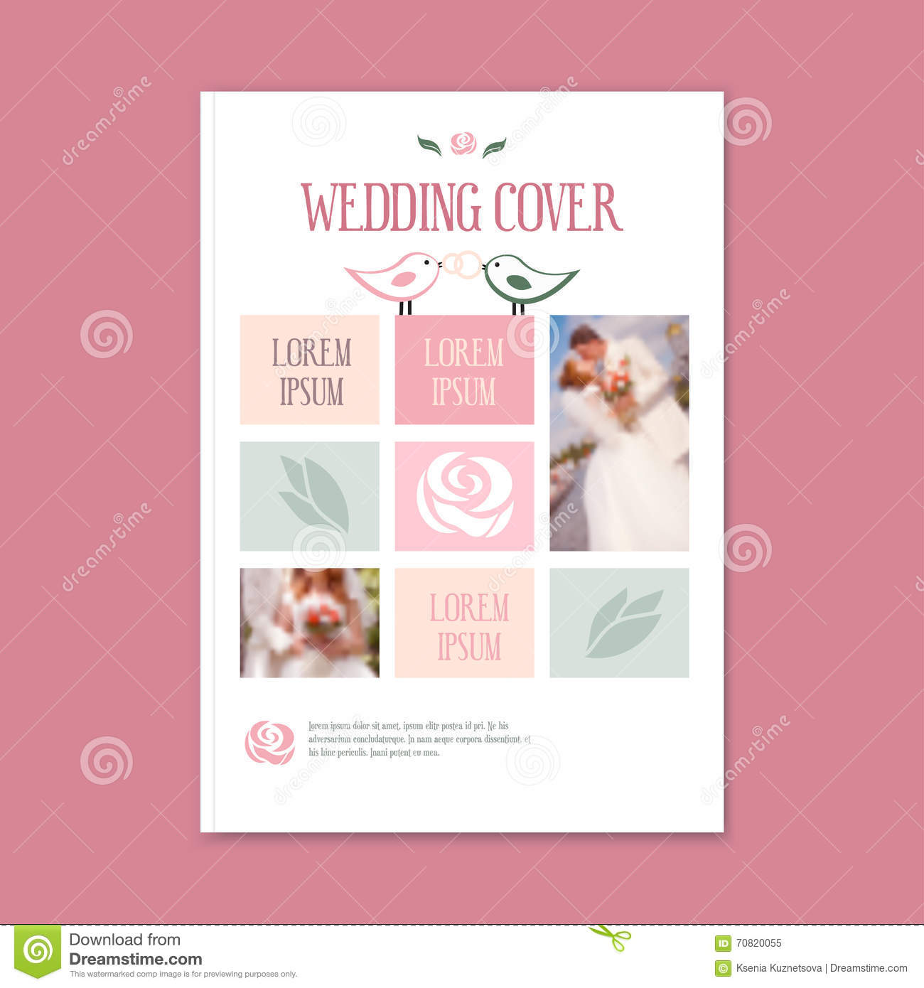 Vector Wedding Template Cover Booklet Stock Vector Illustration