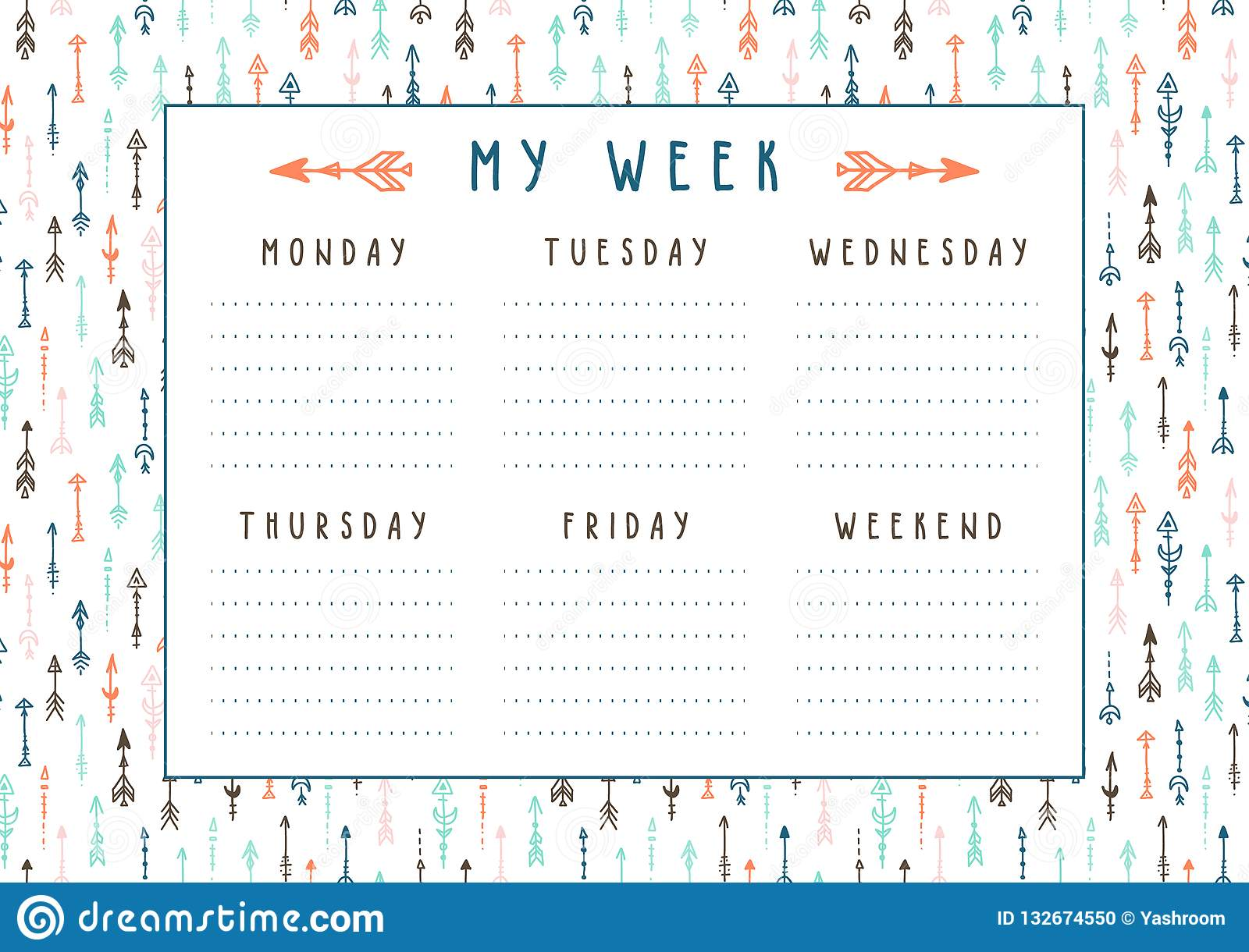 photo relating to Printable Arrows referred to as Vector Weekly Planner Within Boho Style and design With Arrows And Feathers