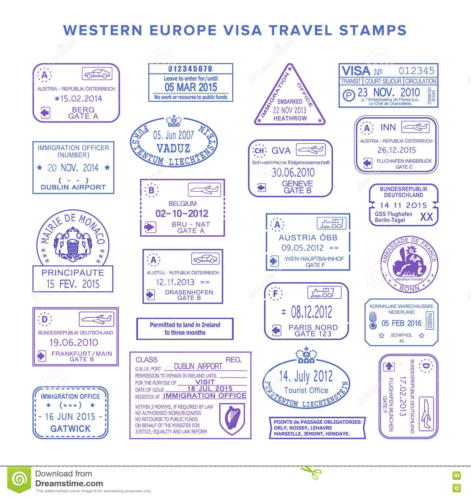 vector western europe common travel visa stamps set stock vector
