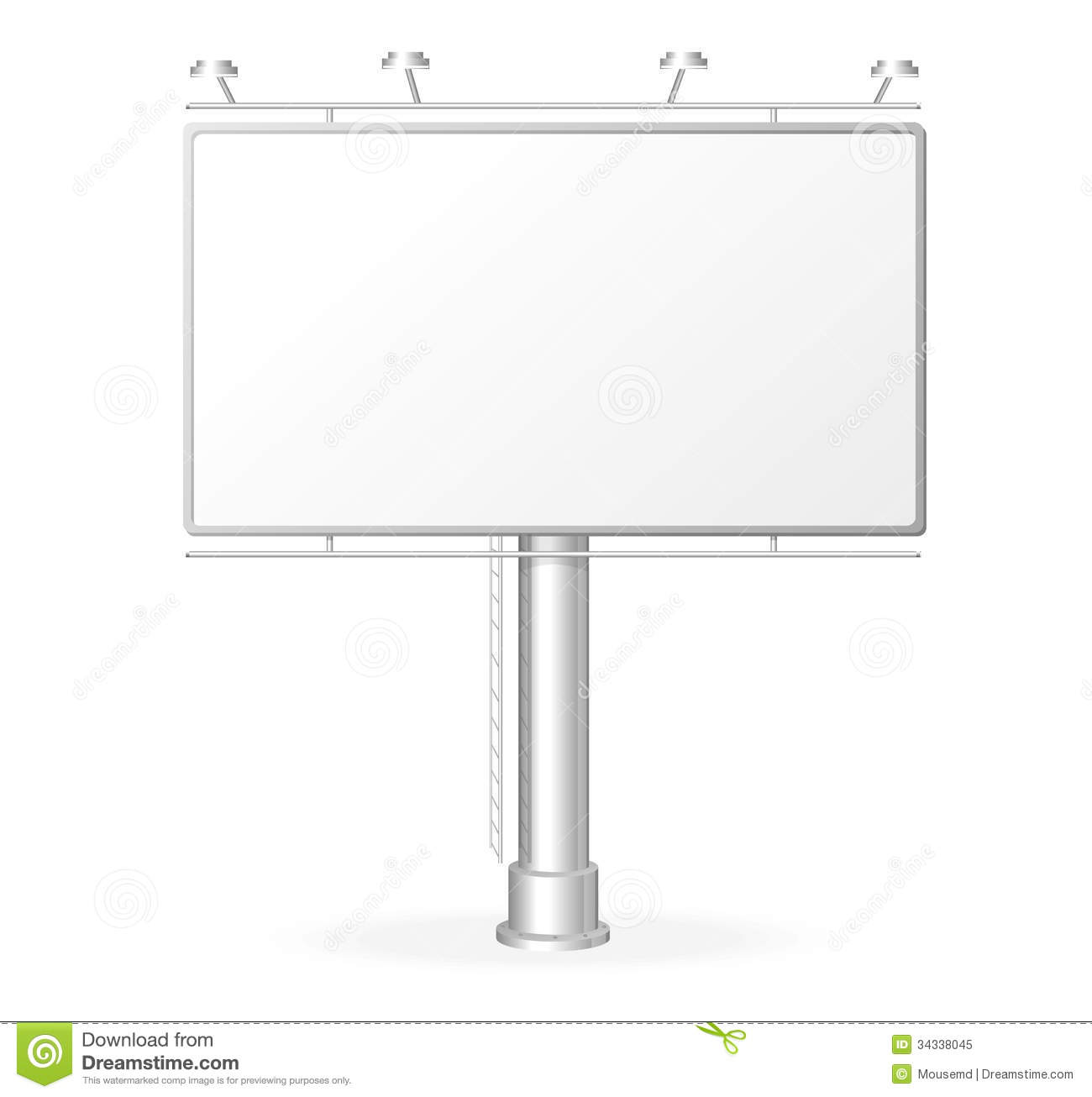 vector white billboard screen template royalty free stock photo image 34338045. Black Bedroom Furniture Sets. Home Design Ideas