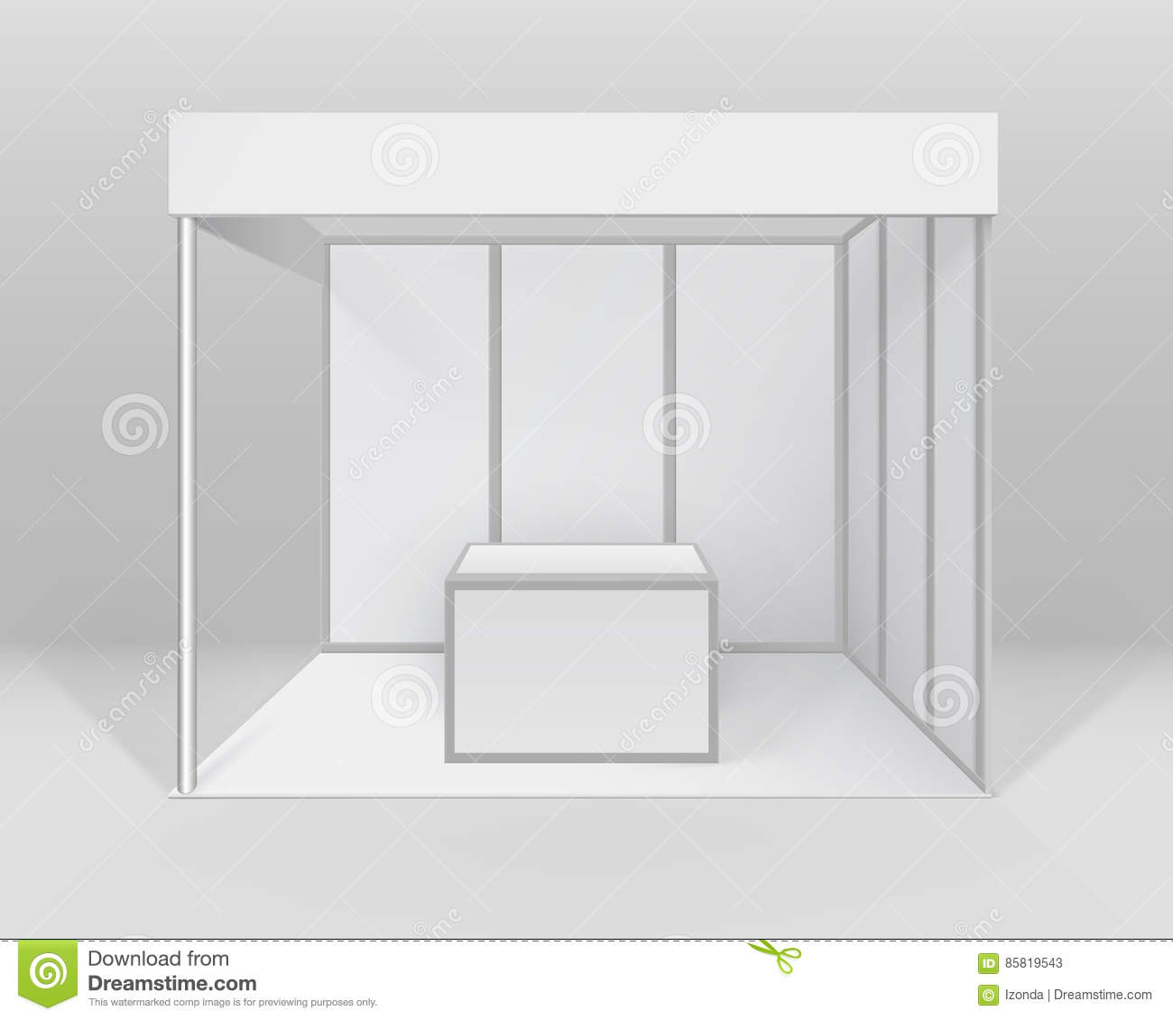 Exhibition Booth Clipart : Blank white trade exhibition stand vector illustration