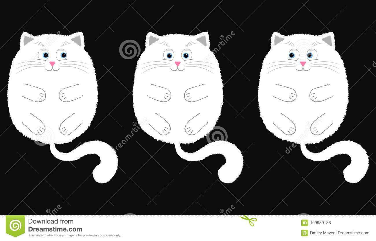 Vector White Cat in Cartoon Style. 2