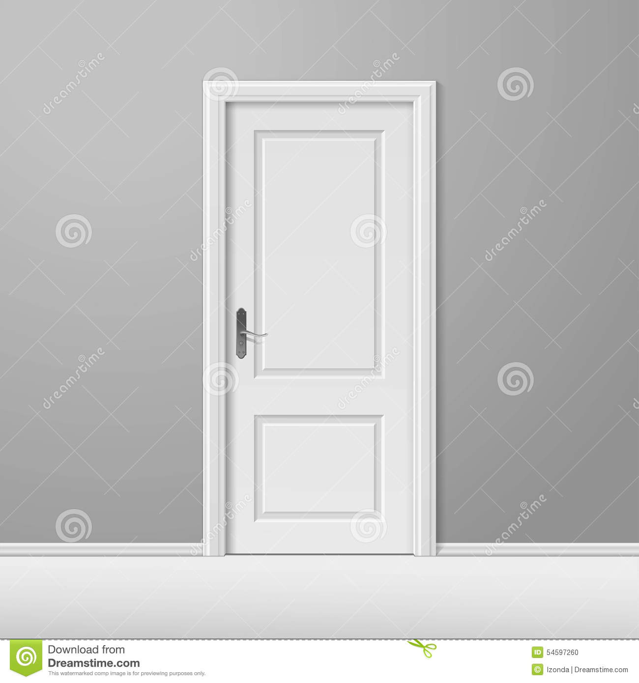 vector white closed door with frame stock photo