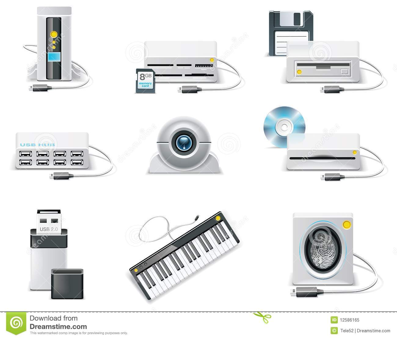 Vector white computer icon set. Part 3. USB device