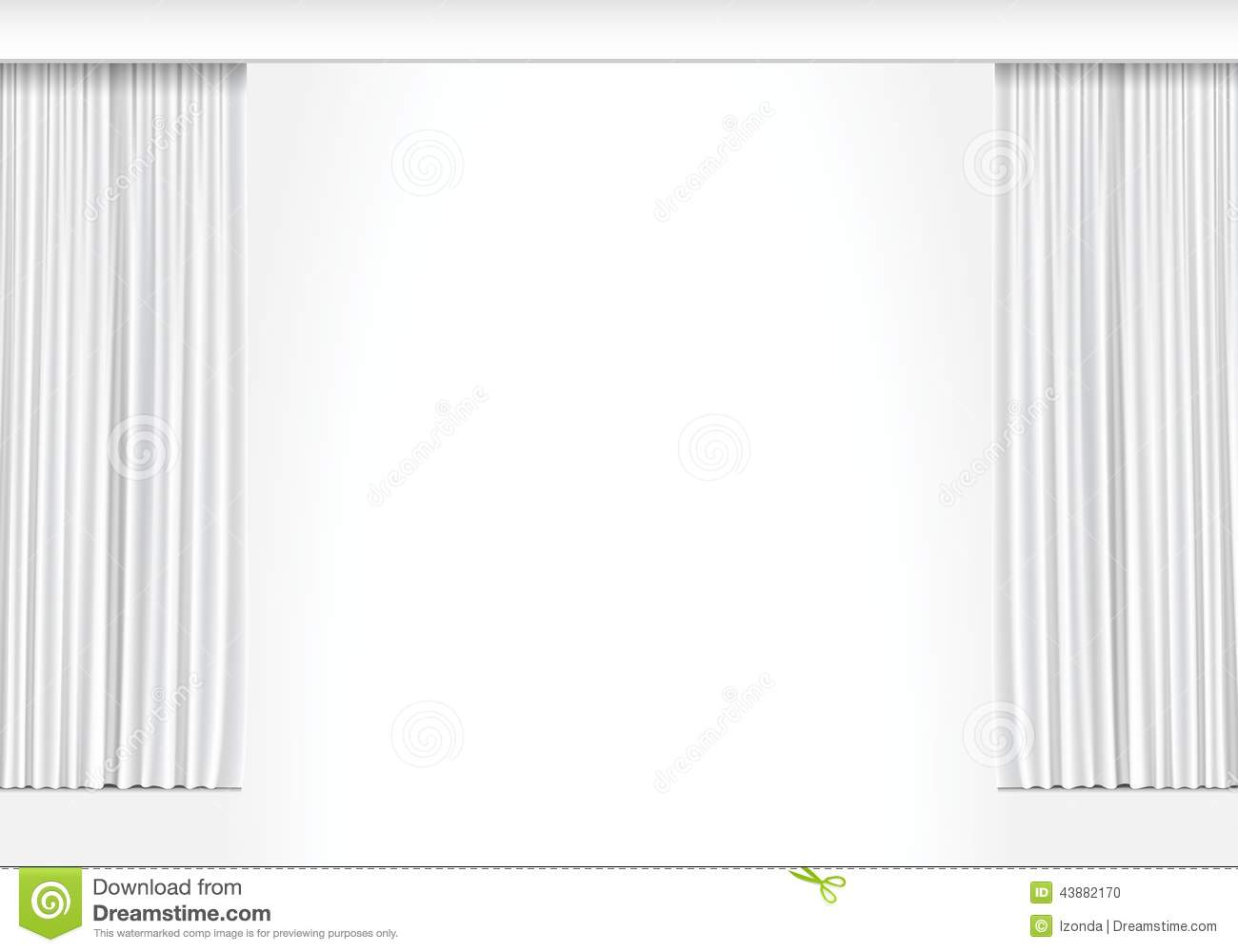 White curtains - Vector White Curtains Isolated On White Background