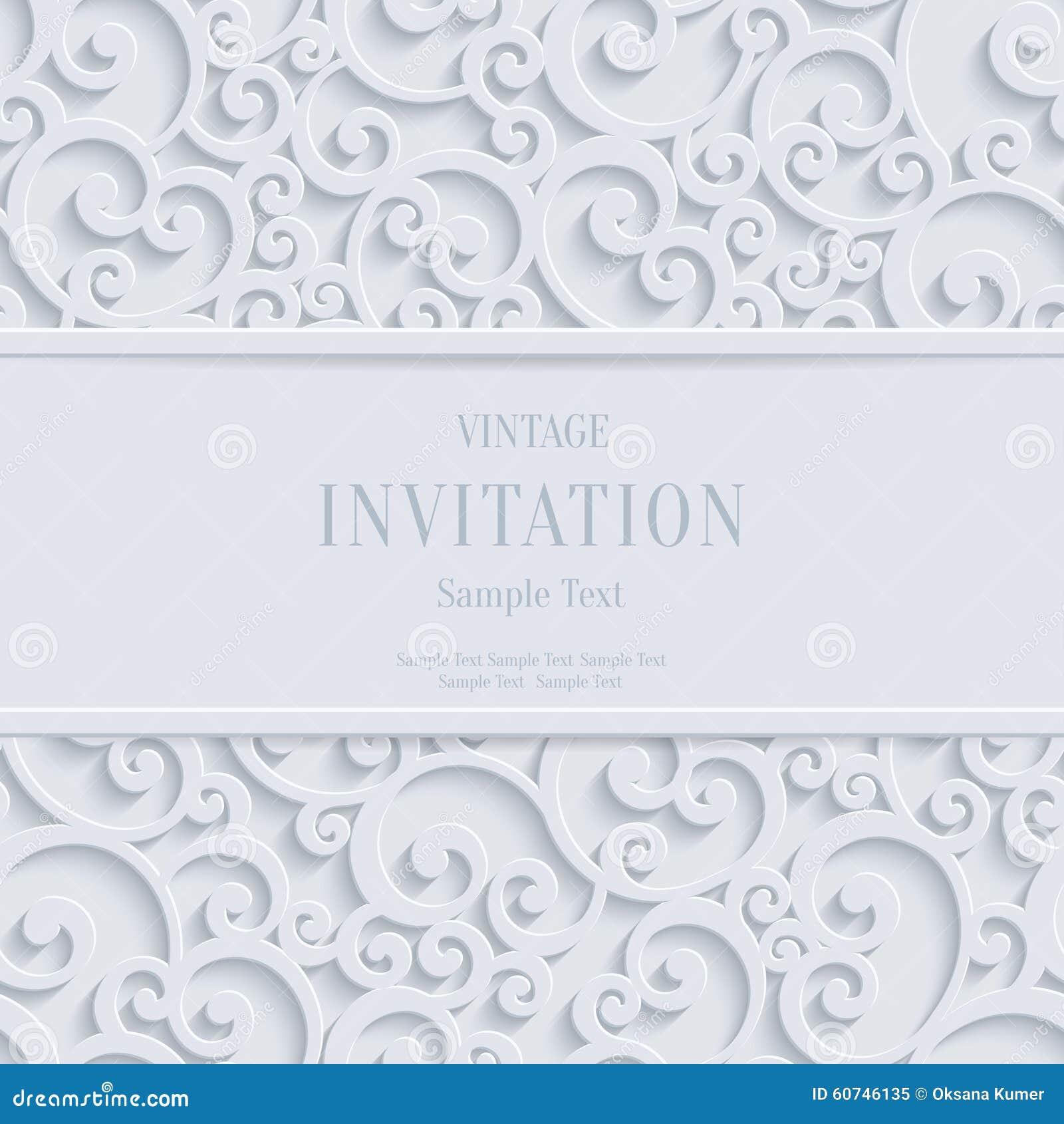 Vector white 3d vintage christmas or invitation cards background vector white 3d vintage christmas or invitation cards background with swirl damask pattern stopboris Choice Image