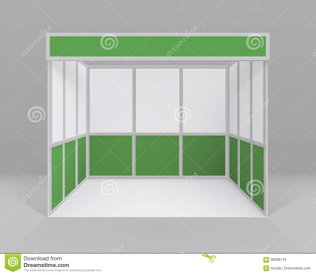 Exhibition Stand Free Vector : Vector white green blank indoor trade exhibition booth standard