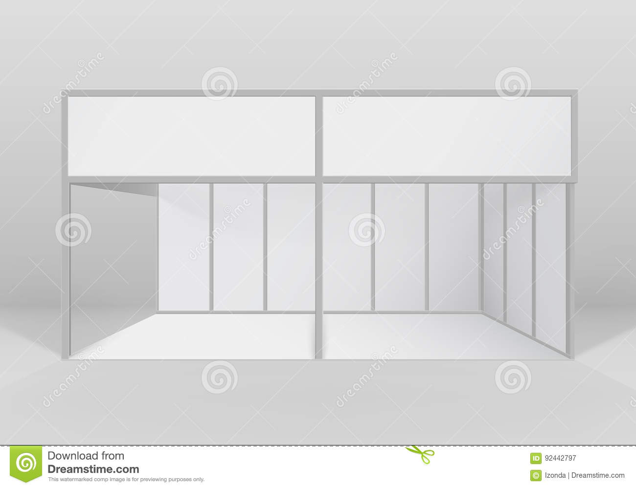 Exhibition Booth Vector Free Download : Vector white indoor trade exhibition booth standard stand