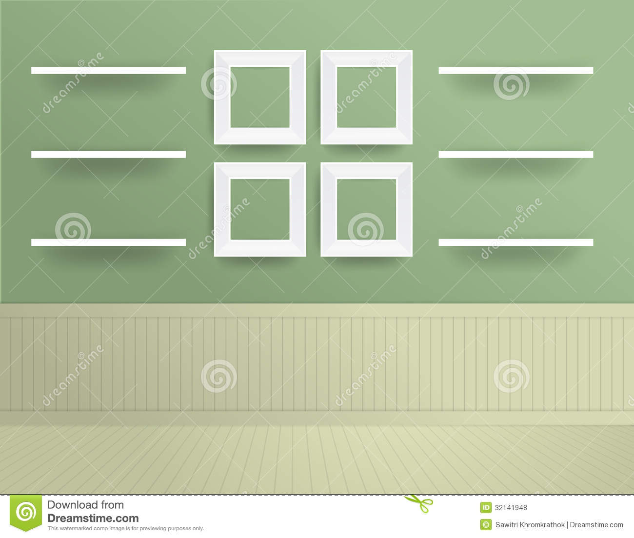 Vector White Modern Frames On The Wall Royalty Free Stock