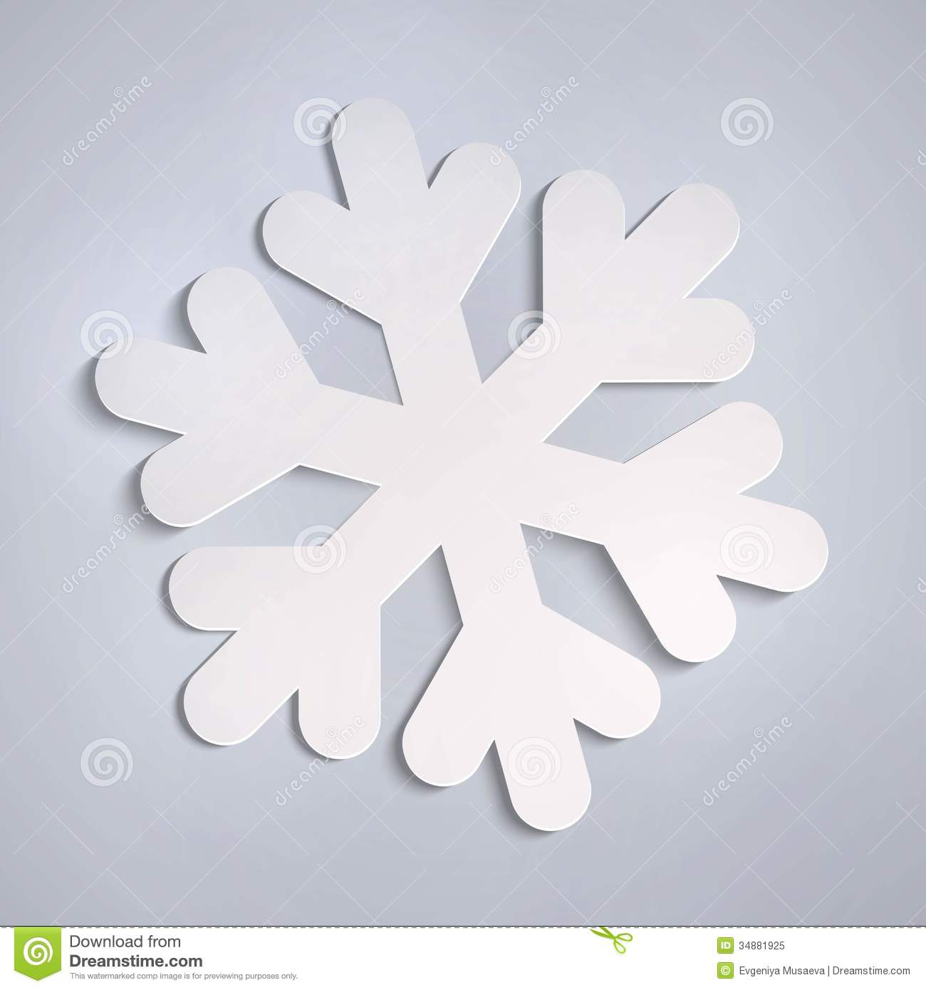 Vector white paper snowflake stock vector illustration for How to make a real paper snowflake
