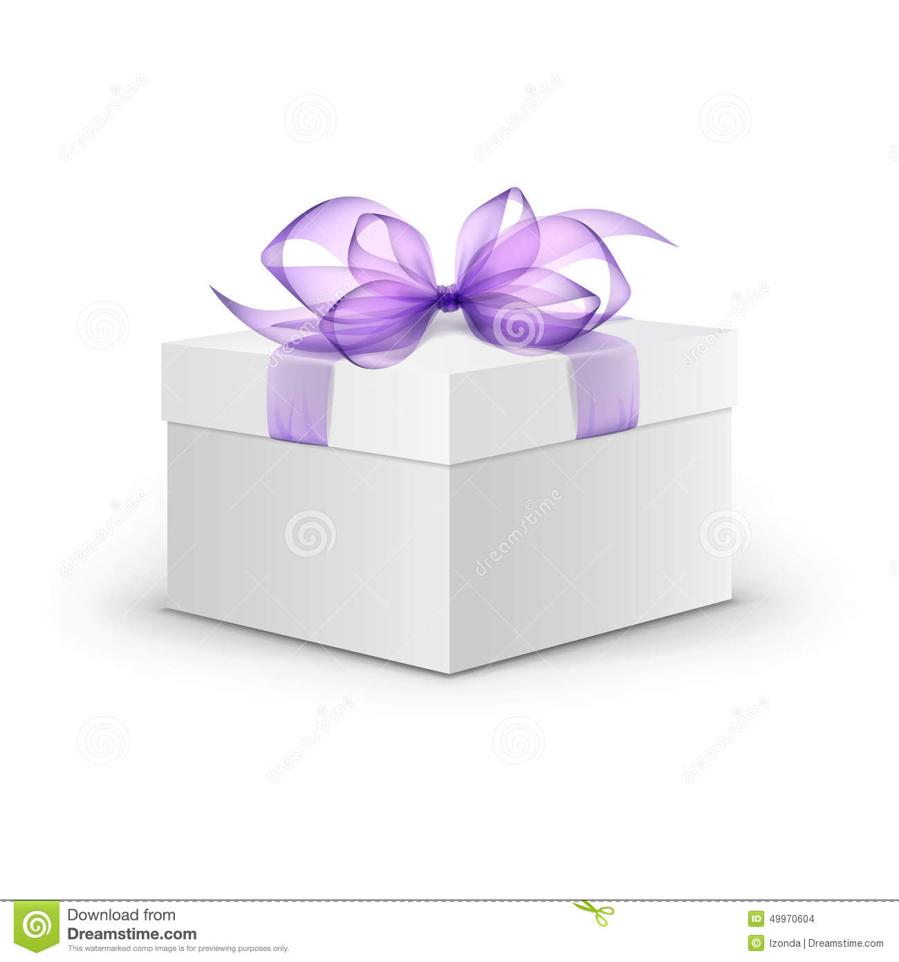Vector white square gift box with purple ribbon stock
