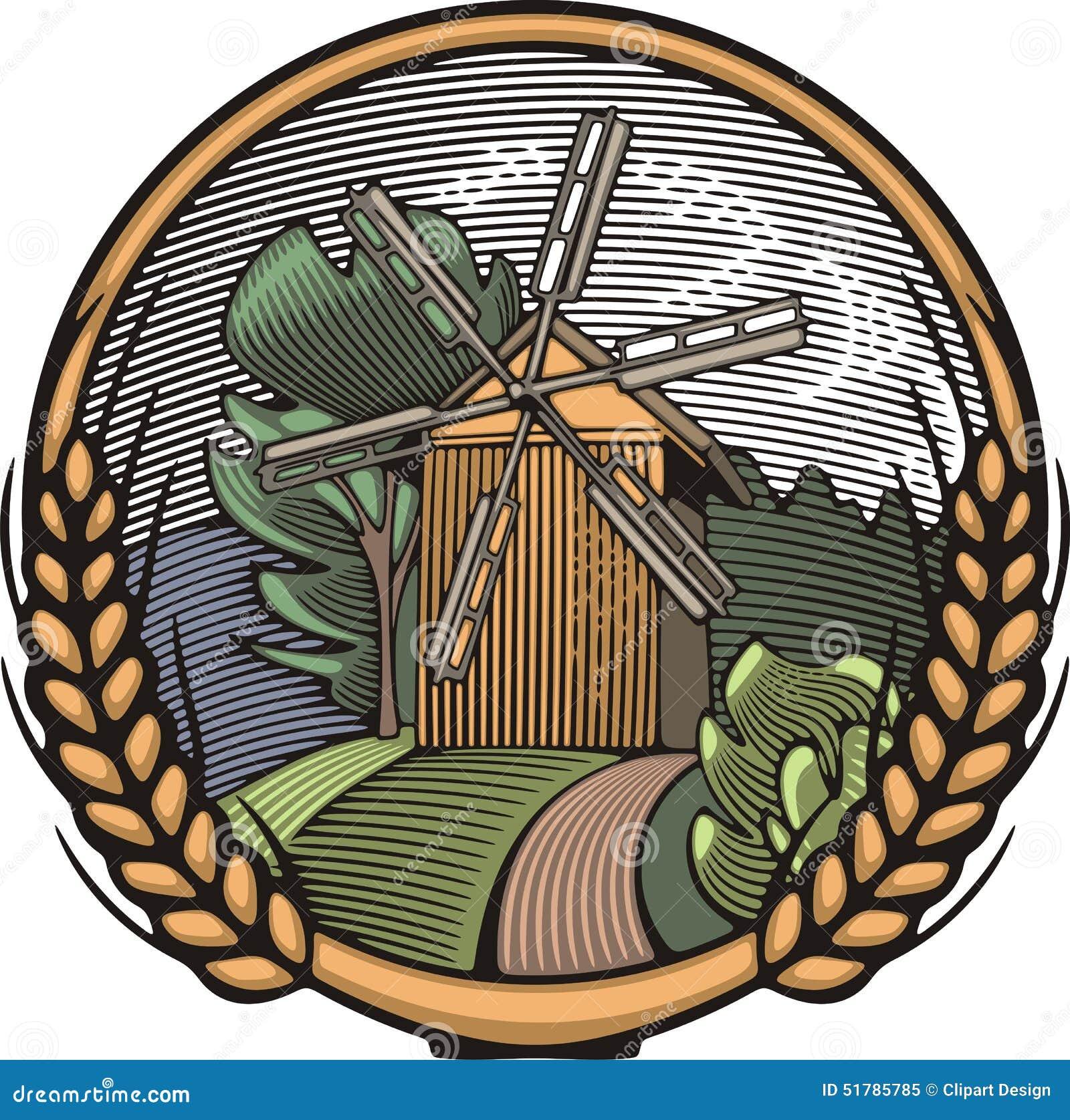 Vector Windmill Illustration in Woodcut Style. Organic Farming.