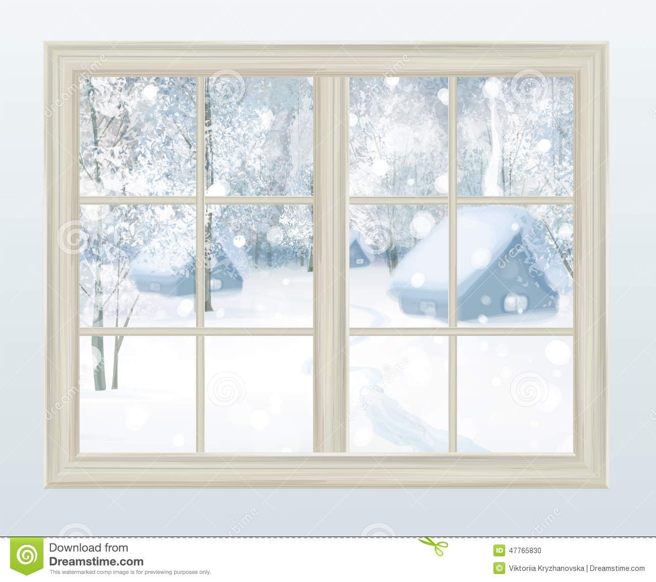 Vector window with view of snowy background stock vector for Window design vector