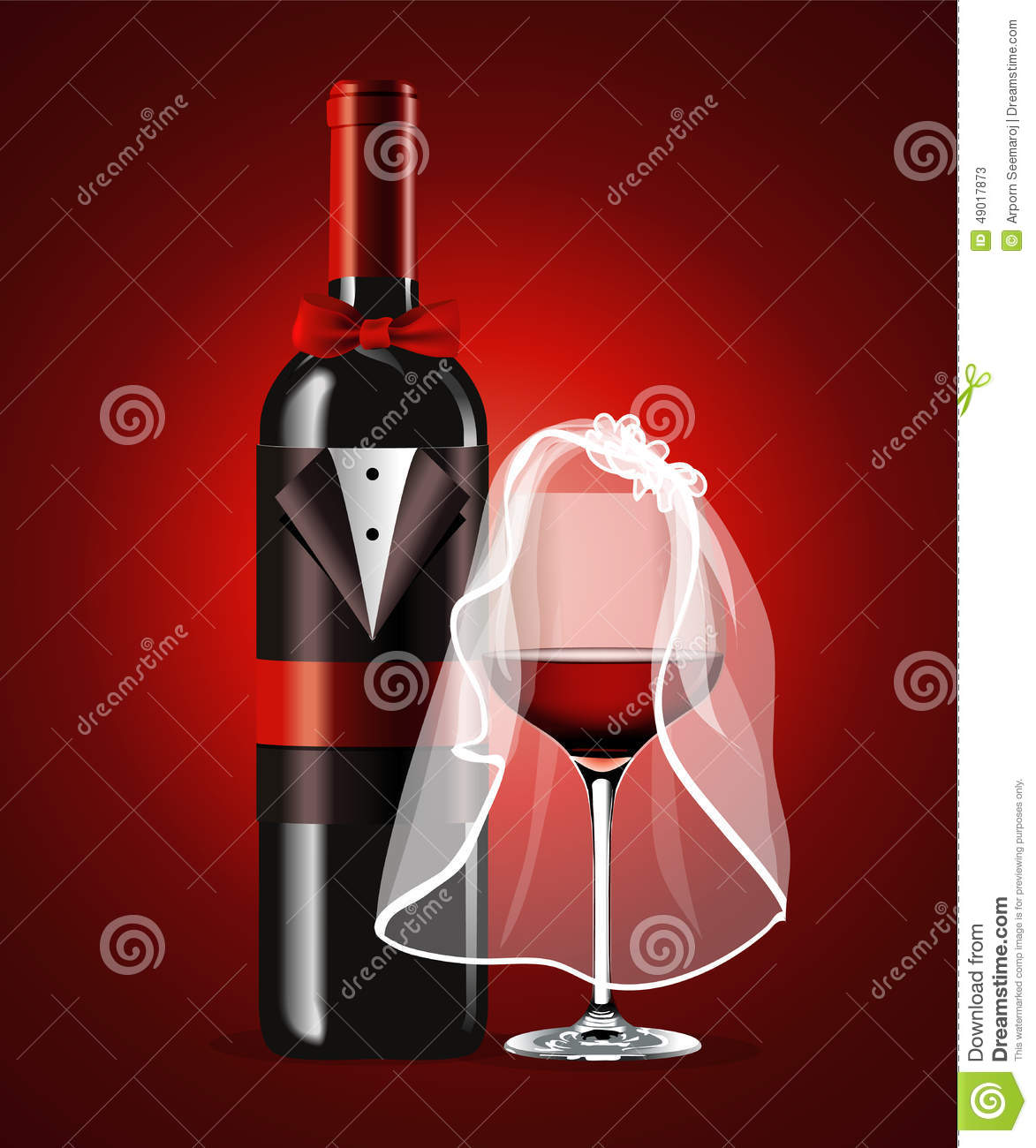 Vector Of Wine Glass And Bottle Valentine Day Stock Vector