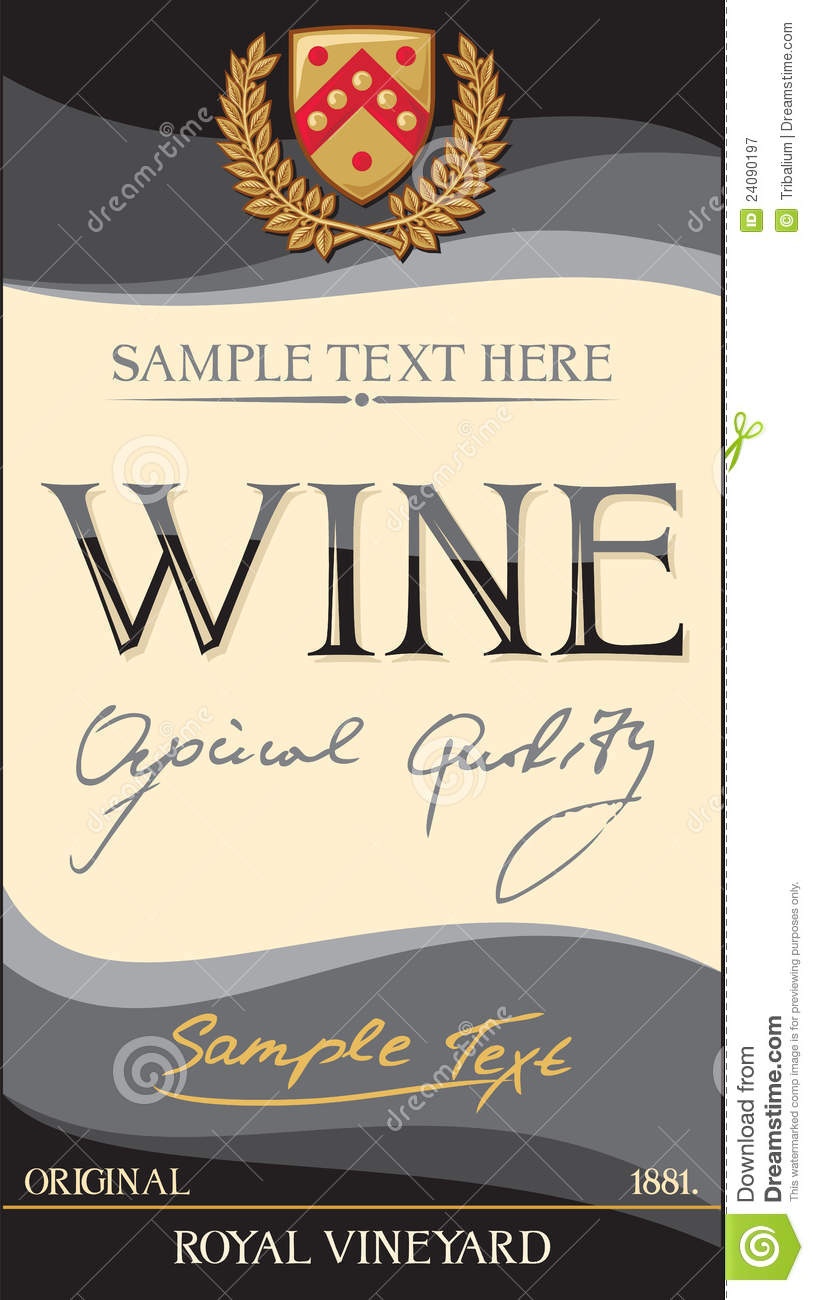 Vector Wine Label Royalty Free Stock Photography - Image: 24090197