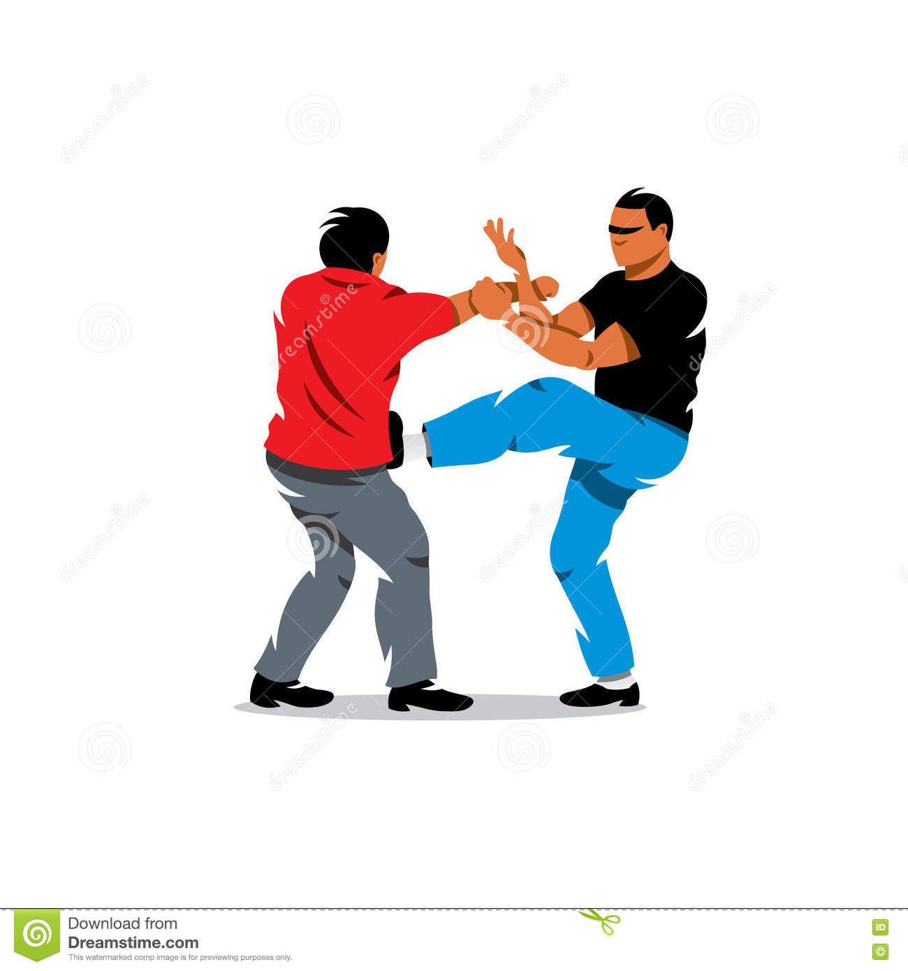 Vector Wing Chun Kung Fu Sparring Cartoon Illustration Stock