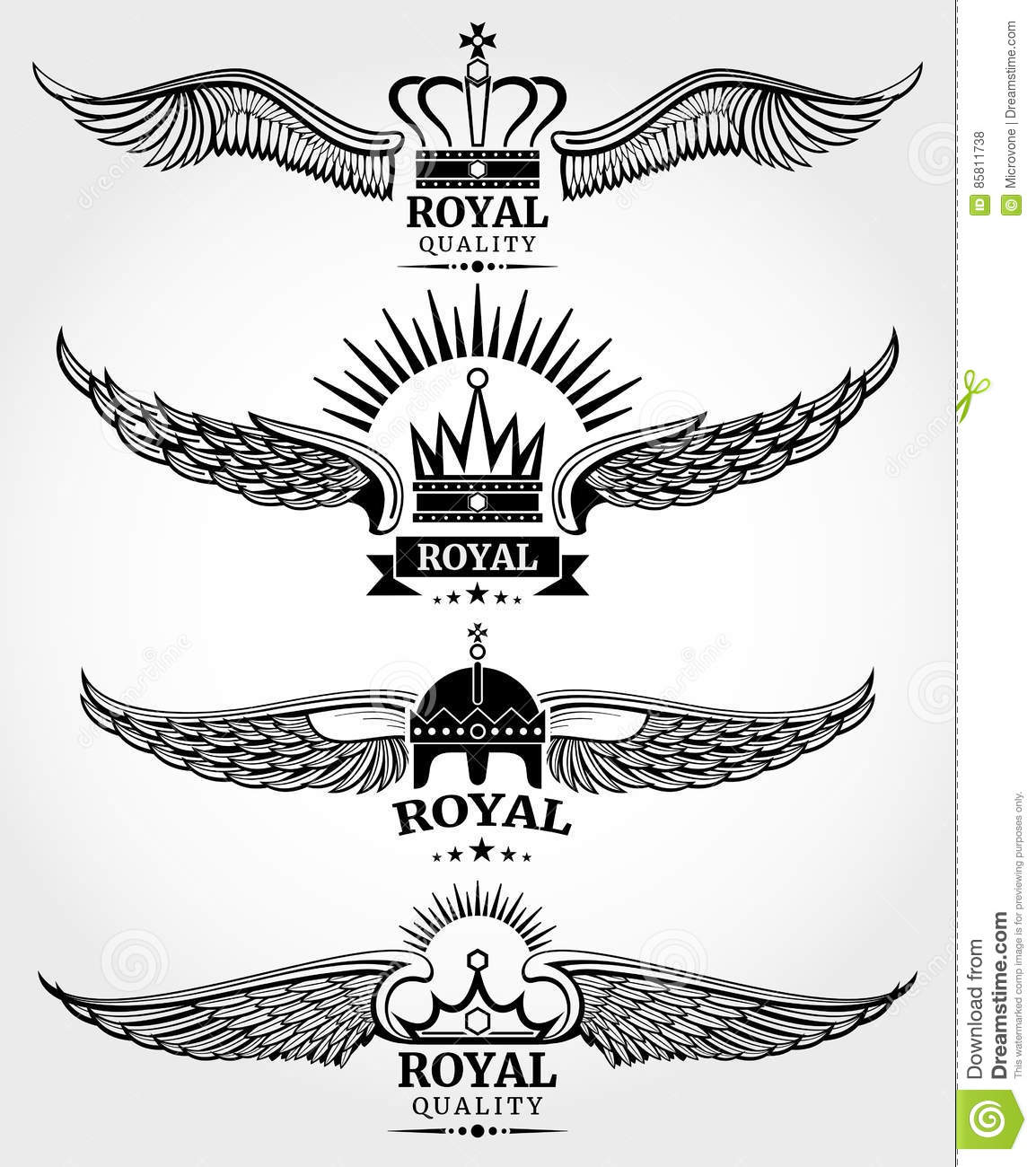 vector winged crowns royal logo templates set in black and white vector illustration. Black Bedroom Furniture Sets. Home Design Ideas