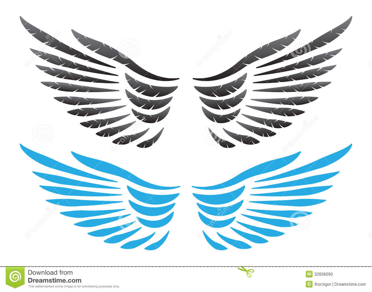 Vector Wings Illustration Stock Photo - Image: 32836090