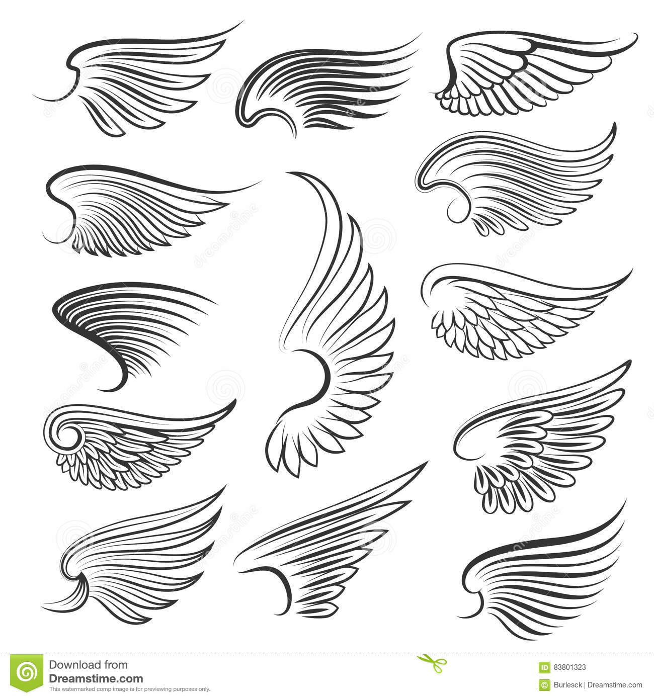 Vector Wings Isolated On White Background. Cartoon Tattoo ...
