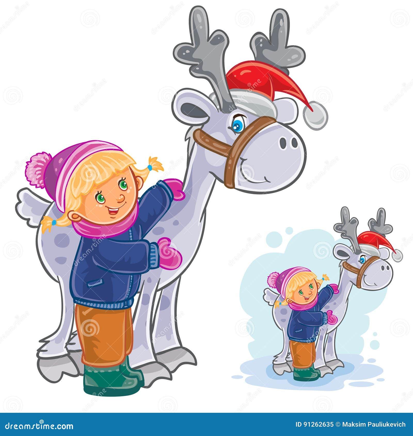 Vector Winter Christmas New Year Illustration Of Little Girl