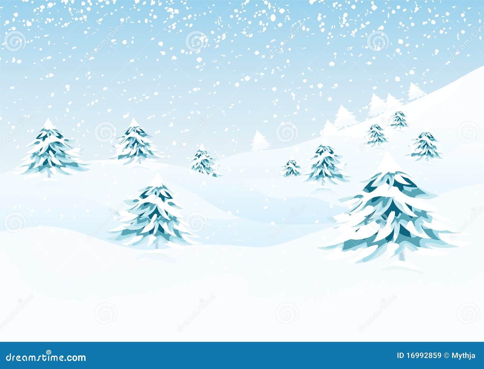 Landscape Illustration Vector Free: Vector Winter Landscape Stock Vector. Illustration Of Cold