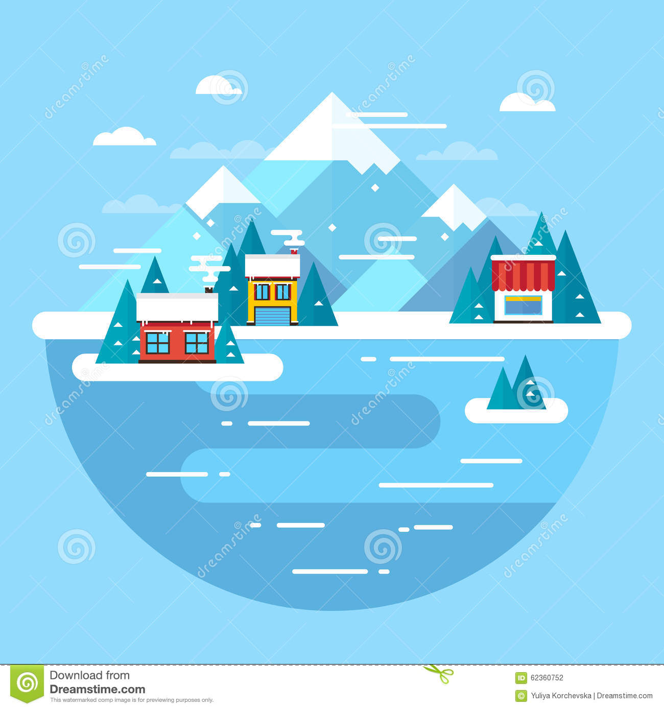 Winter travel flat vacation landscape vector illustration for Ski designhotel