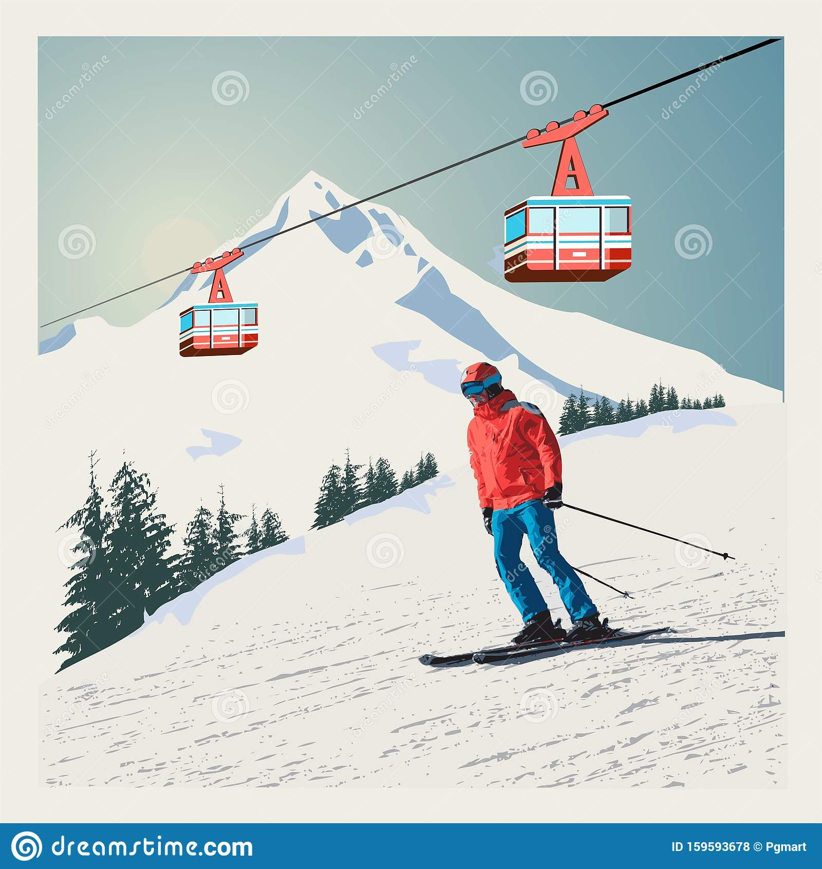 Ski Lift Stock Illustrations 3 555 Ski Lift Stock Illustrations Vectors Clipart Dreamstime