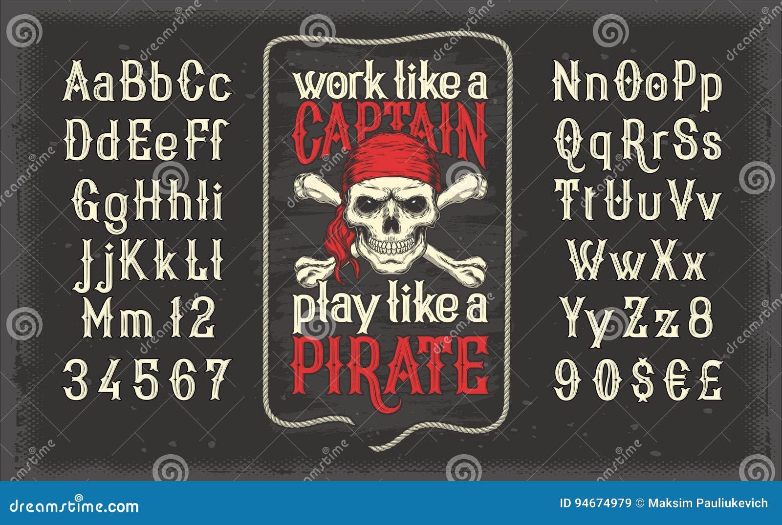 Vector witte uitstekende doopvont, het Latijnse alfabet met retro piraatdruk met schedel en gekruiste knekels