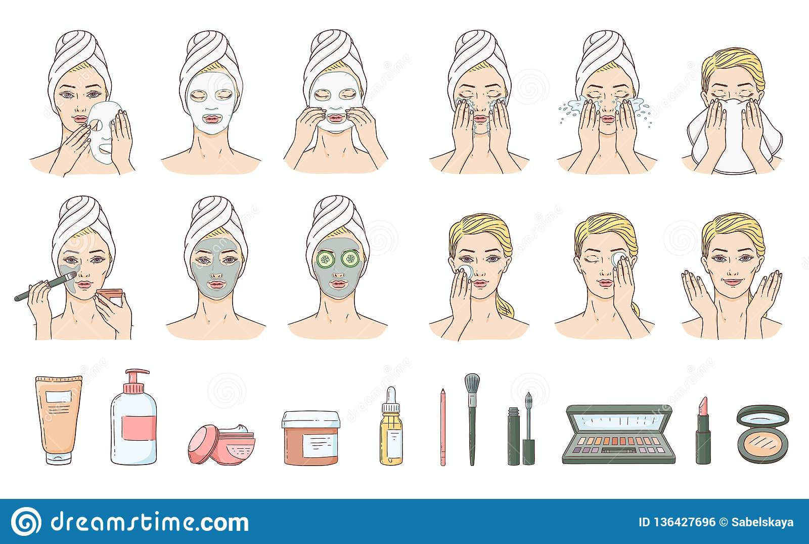 Vector woman applying facial mask, face treatment