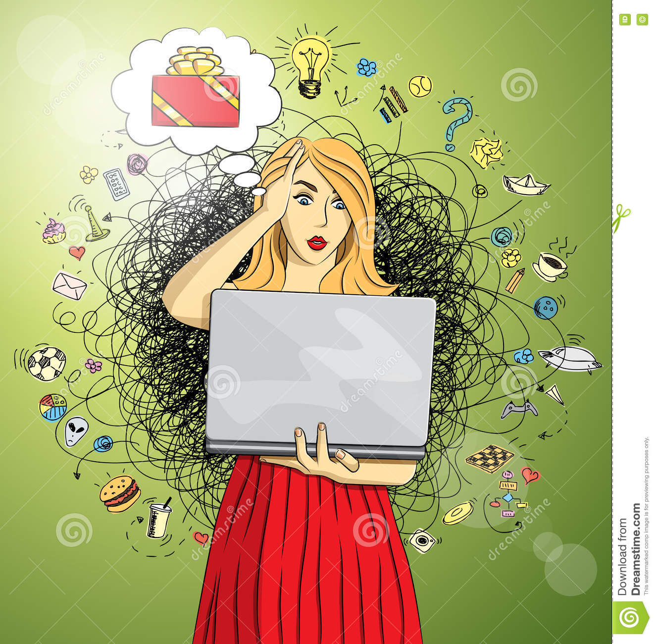 Vector Woman Buy Christmas Gifts Online Stock Vector - Illustration ...
