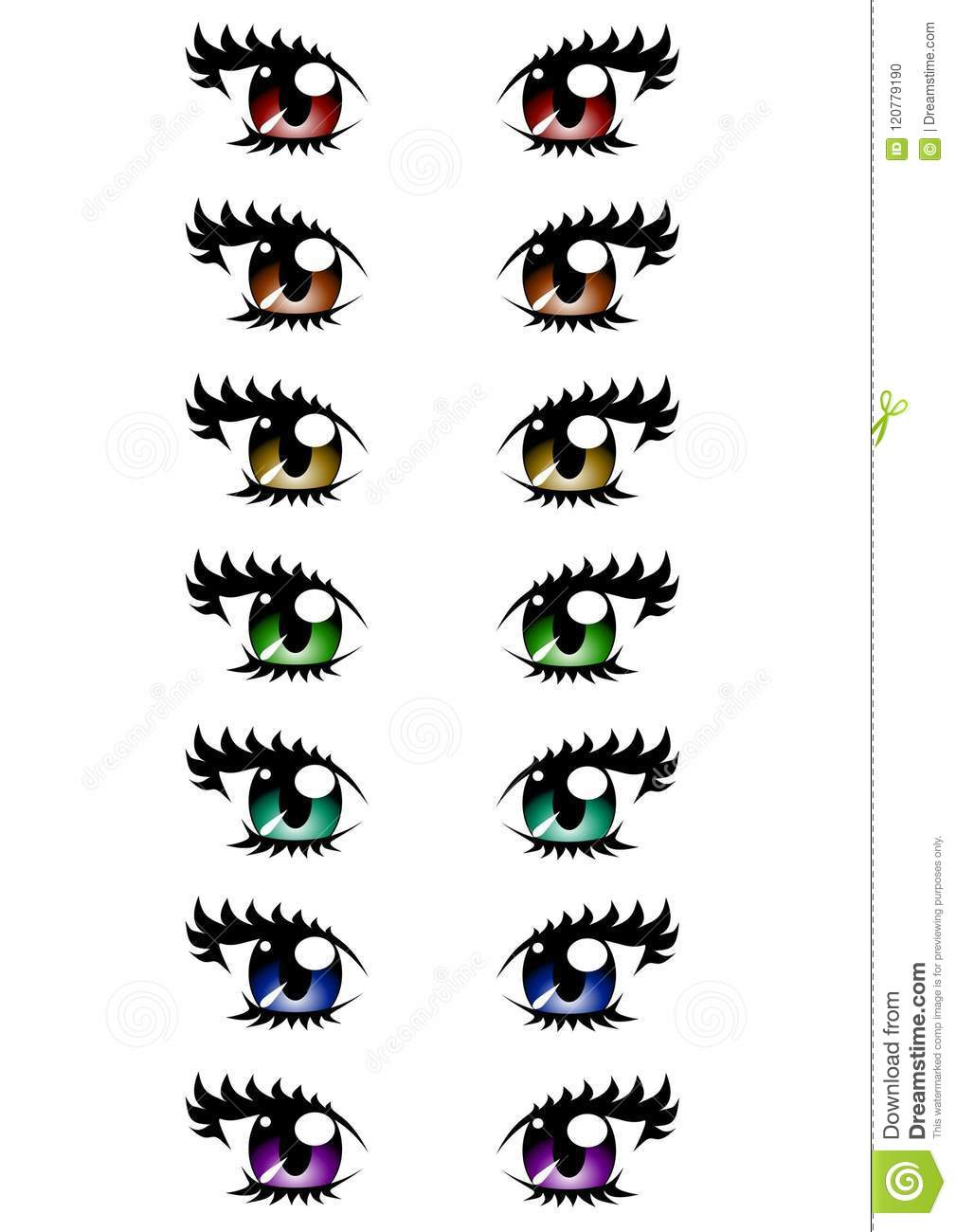 Vector Of Woman Eyes Of Various Colors Isolated On White Background