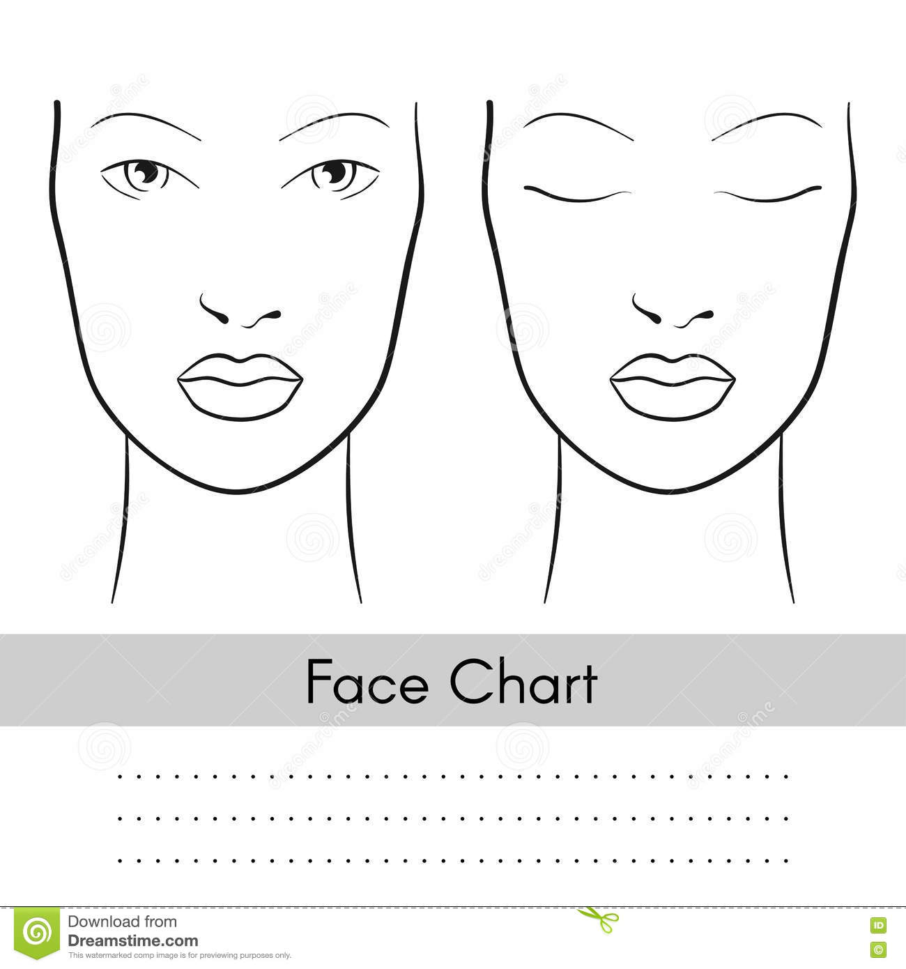 picture about Printable Face Charts named Vector Girl Confront Chart Portrait. Woman Encounter With Open up And