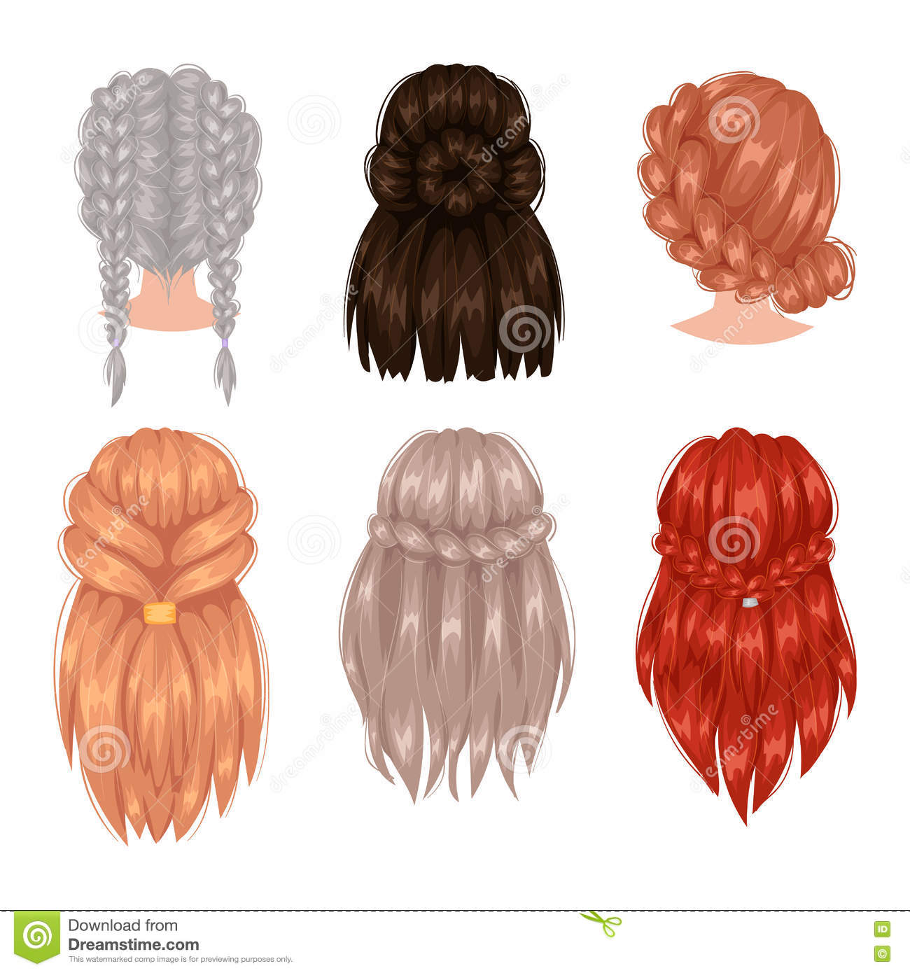 Vector Woman Hairstyle Back View Stock Vector Illustration Of Care Haircut 78066997