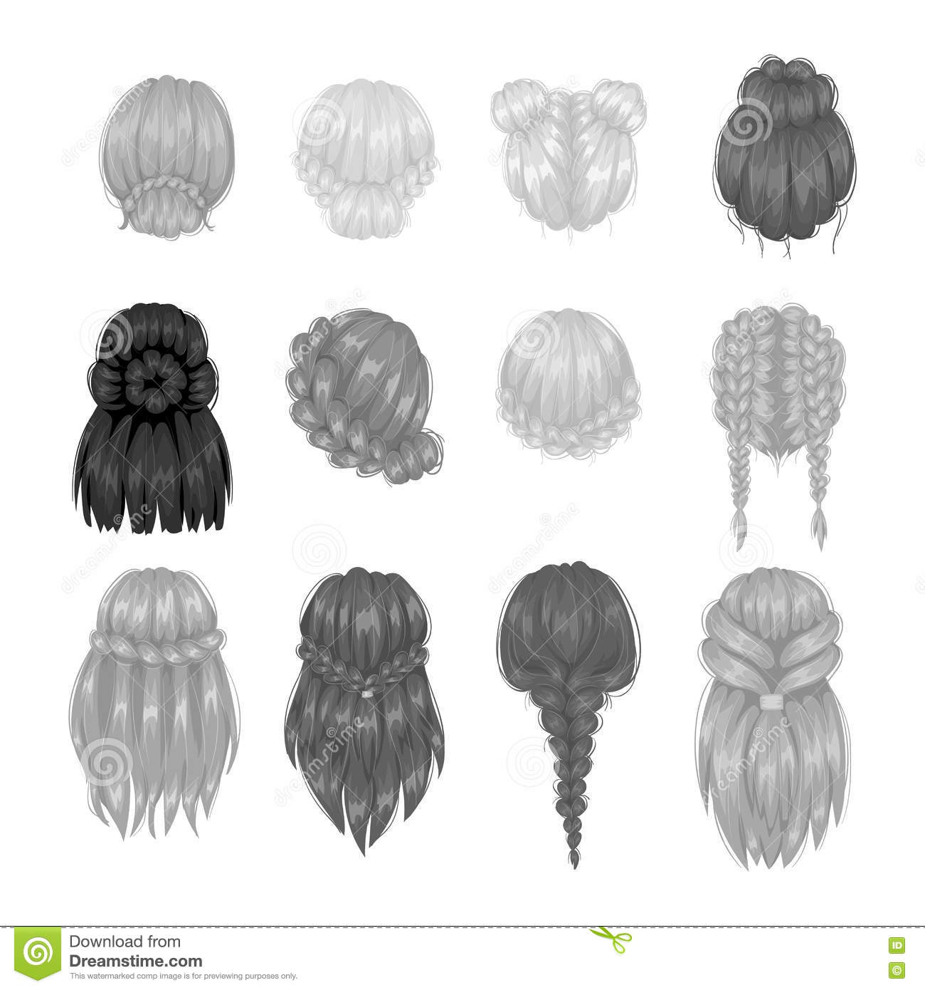 Vector Woman Hairstyle Back View Stock Vector Illustration Of