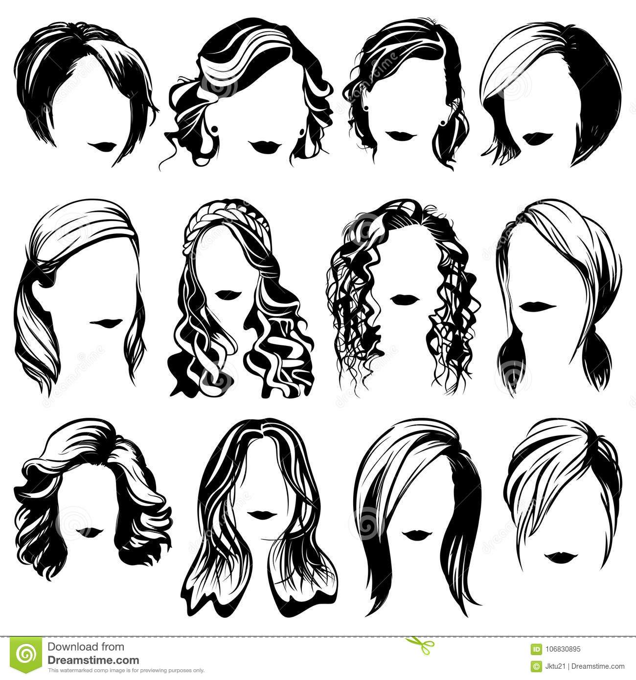 Vector Women Fashion Hairstyle Isolated Silhouettes Stock