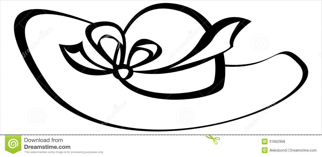 Vector women hat isolated on white stock vector for Ladies hat coloring pages