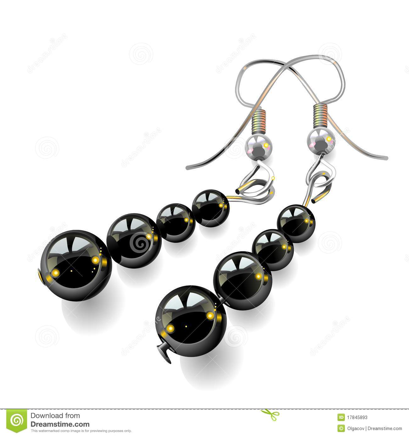 vector women 39 s jewelry earrings with black stone stock. Black Bedroom Furniture Sets. Home Design Ideas