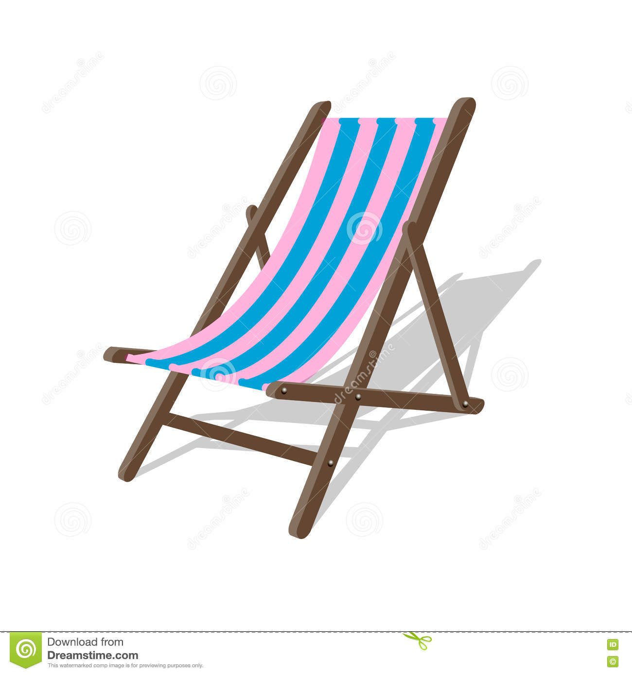 Vector Wood Beach Rest Chair Relax Outdoor Striped Seat