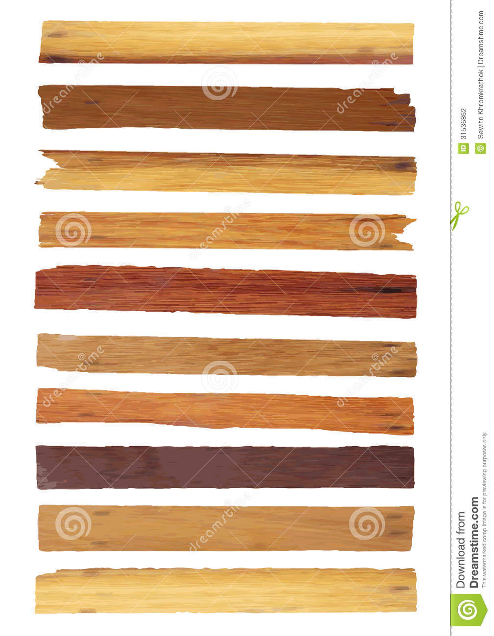 Vector Wood Plank Isolated On White Stock Vector
