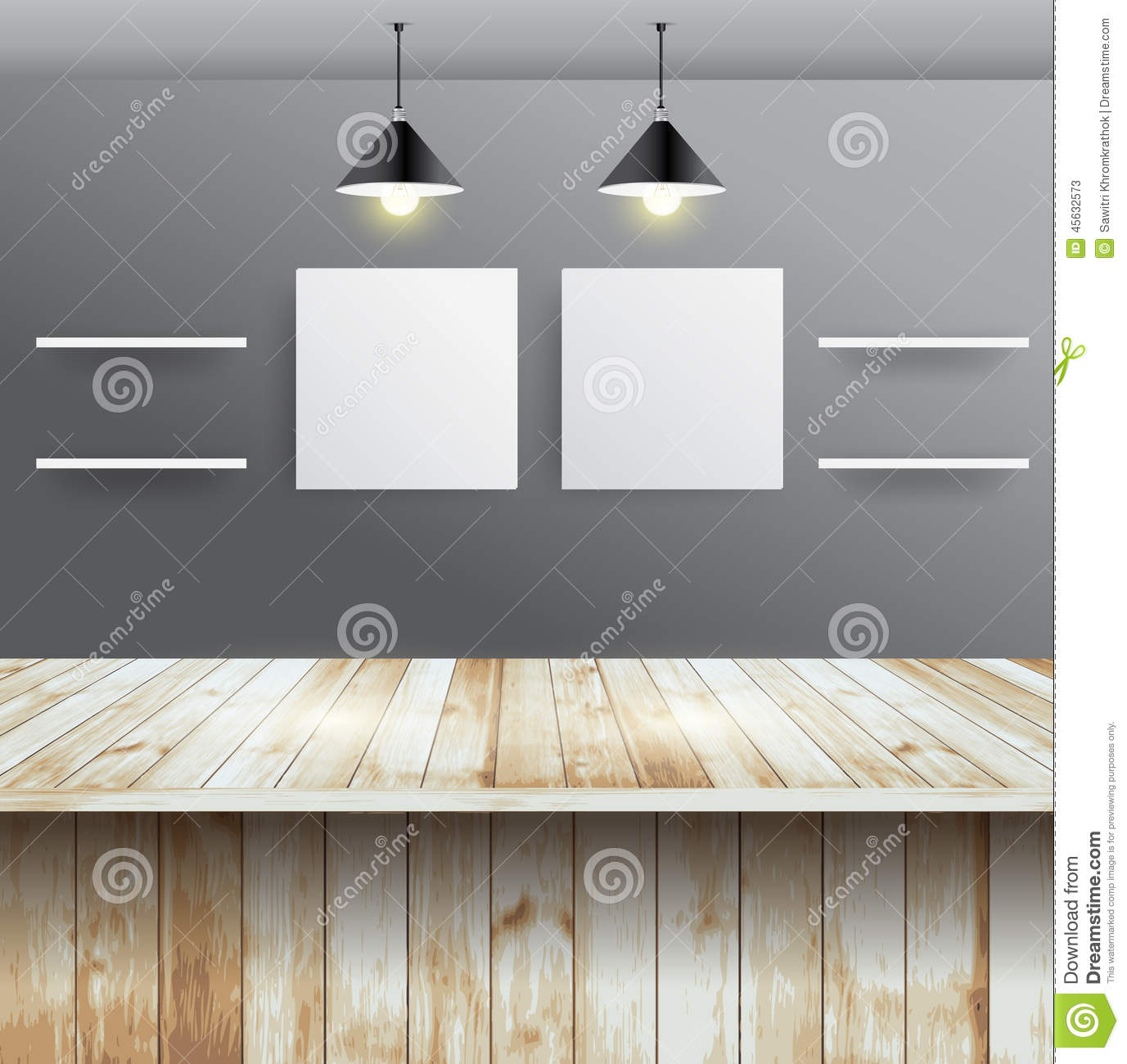 Interior wooden shelves free vector - Vector Wood Table With Wall Room Interior Design Stock Photos