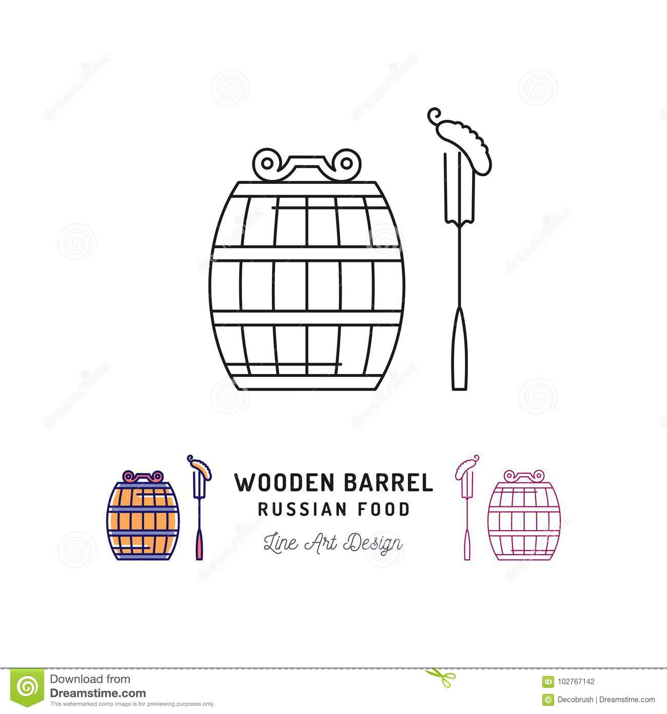 Vector wooden barrel icon, russian food and drink. Traveling in Russia ultra-trendy symbol, thin line art icons. Vector