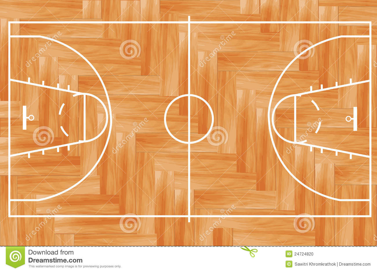 Vector Wooden Basketball Court Stock Vector Illustration