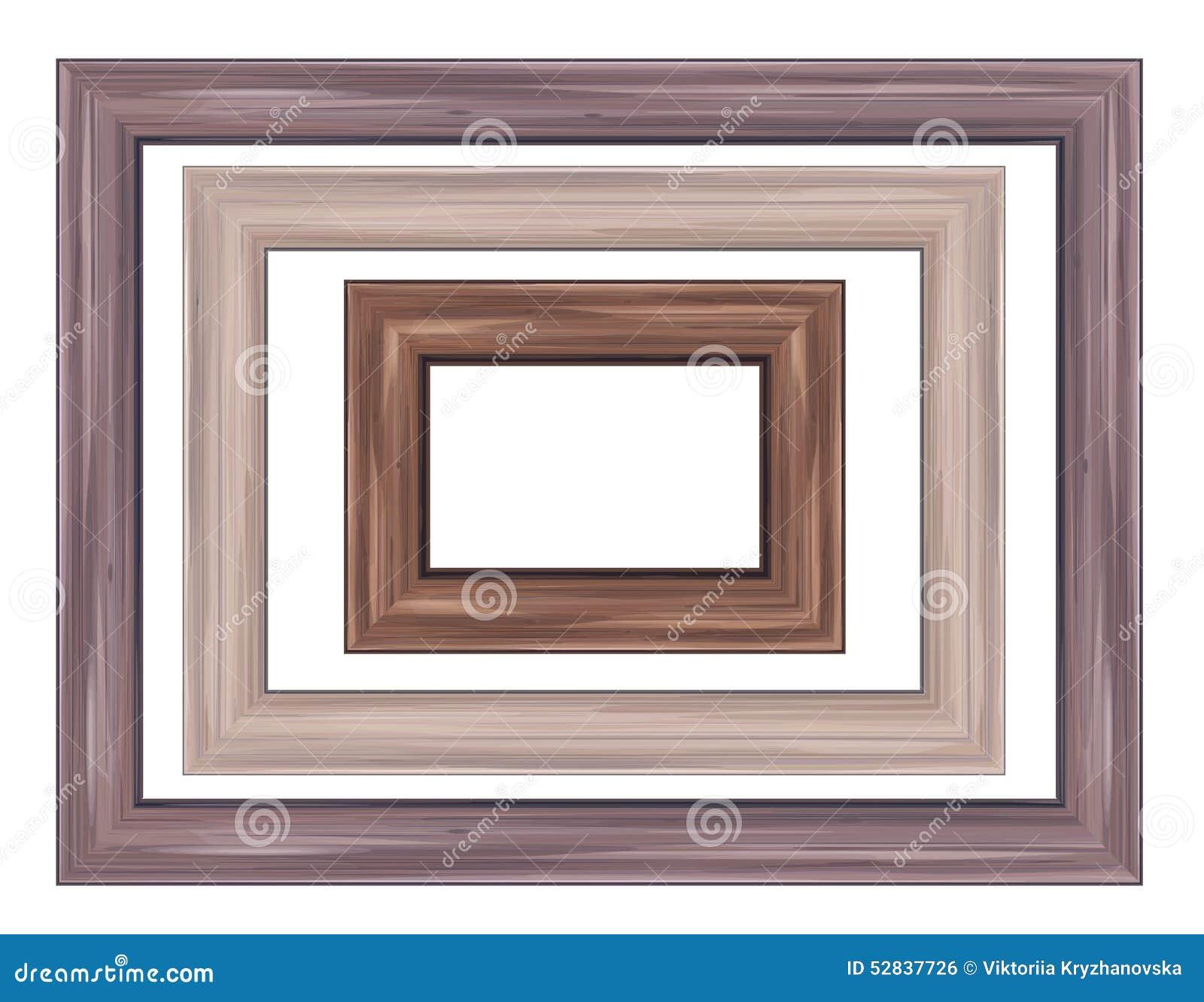 Wood frames set free vector - Royalty Free Vector Brown Frames Wooden