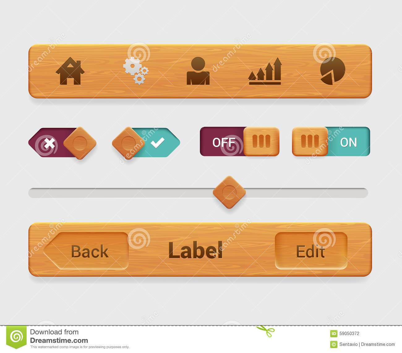 Vector Wooden Mobile App Tablet Interface Element, Button ...