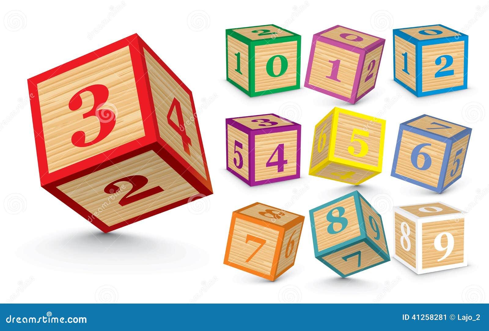 Vector Wooden Number Blocks Stock Vector - Image: 41258281
