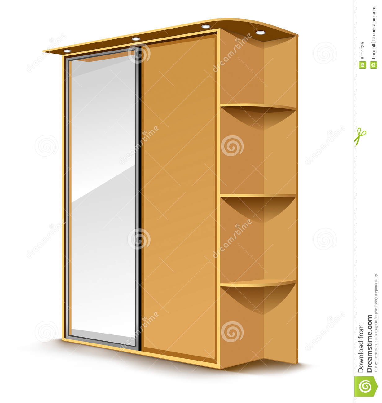 Amazing photo of Vector wooden wardrobe with mirrow and shelfs isolated on white  with #72410C color and 1233x1300 pixels