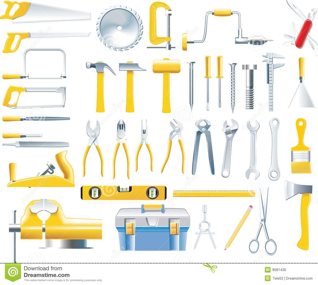 Vector woodworker tools icon set